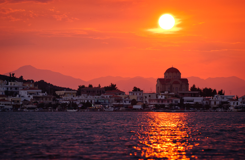 Kilada, Greece at Sunset.