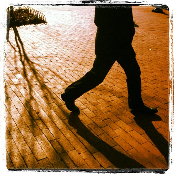 Man walking in washington, dc. Brick walkway. Shadows.