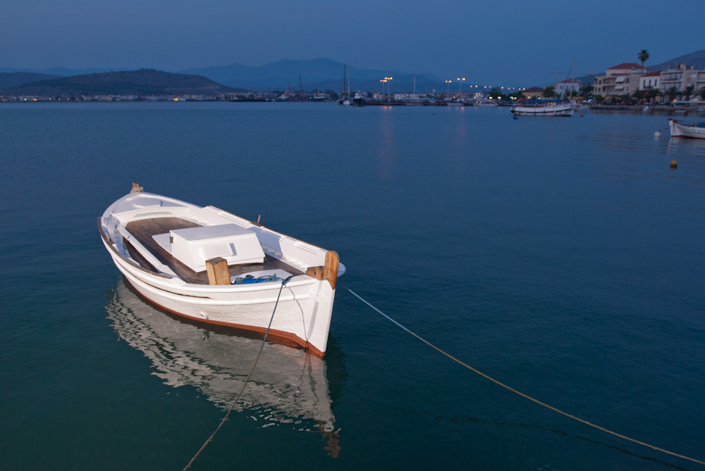 A skiff in Nafplio Harbor. Nafplio, Greece