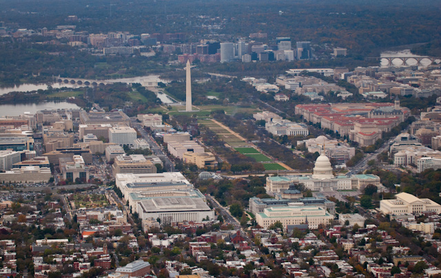 Downtown Washington DC aerial view. Looking west.