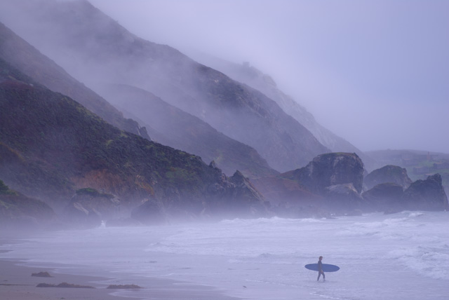 Stinson Beach surfer dude. Misty fog in the mountains.