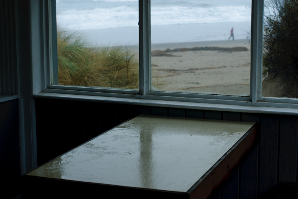 View through the window at Surfer's Grill. Stinson Beach.