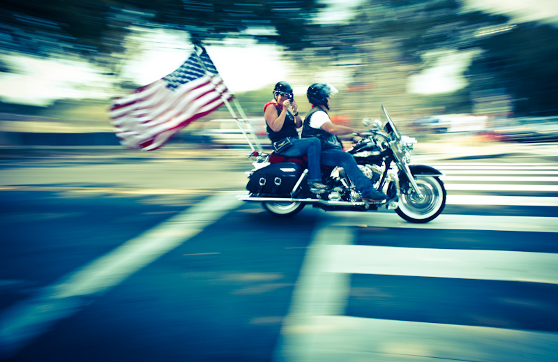 Man and woman on a Harley at 2 Million Bikers Rally.