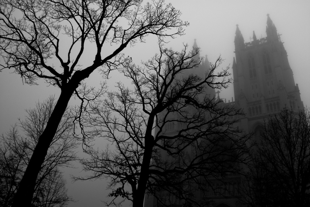 National Cathedral in fog. Washington DC.