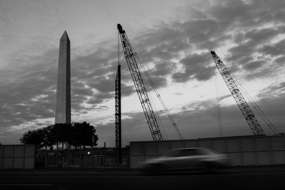 Washington Monument and construction cranes. Washington DC.