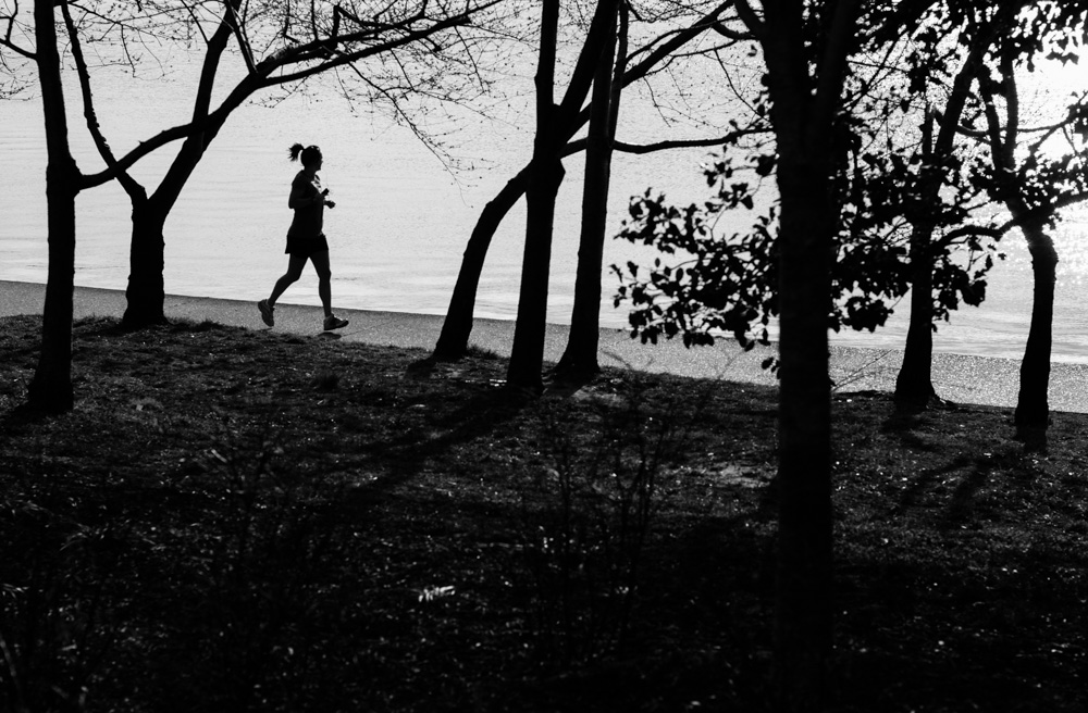 Jogger at Tidal Basin. Washington DC.