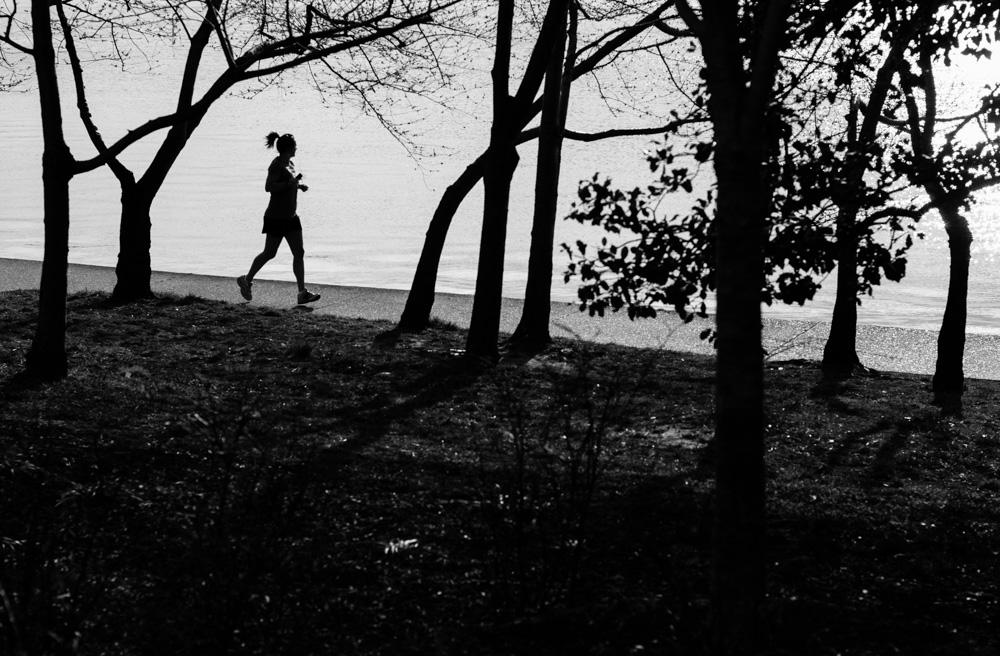 Jogger at Tidal Basin. Washington DC.