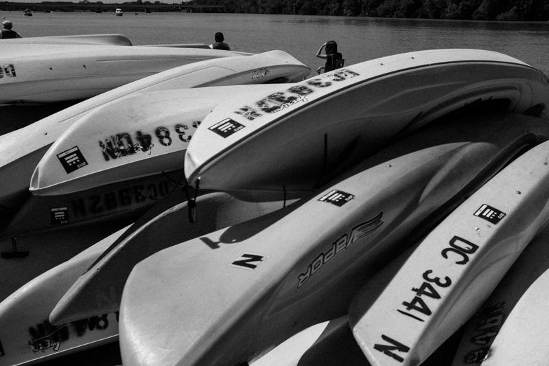 Kayaks at Thompson Boat Center. Washington DC.