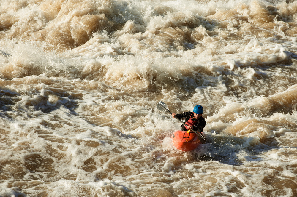 Jason Beakes whitewater kayaker for Finlandia Vodka video shoot.