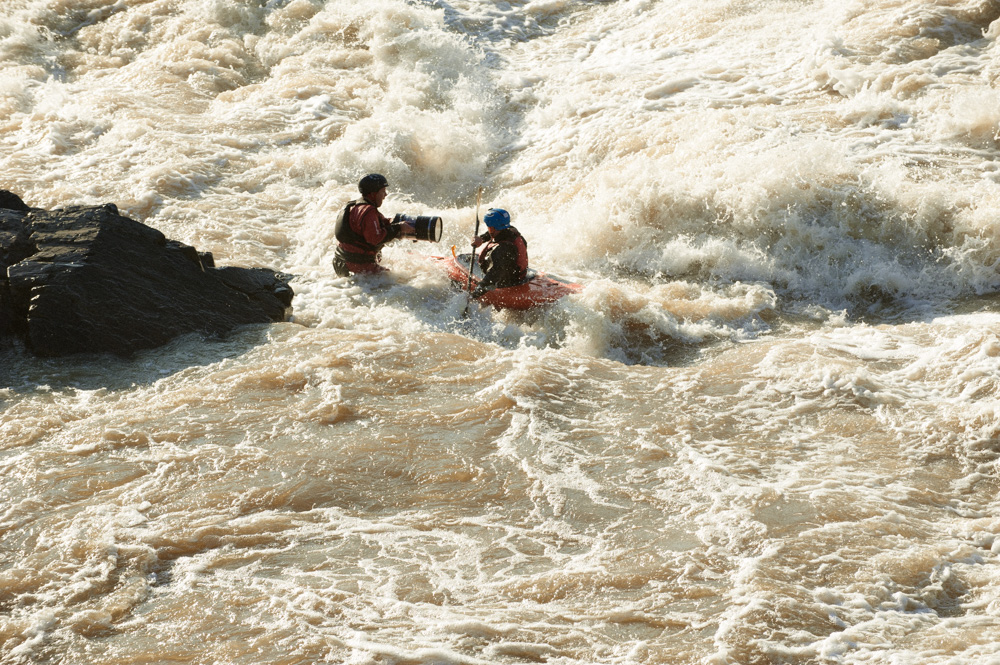 Steve Fisher and Jason Beakes in the river below Great Falls. Finlandia Vodka commercial.