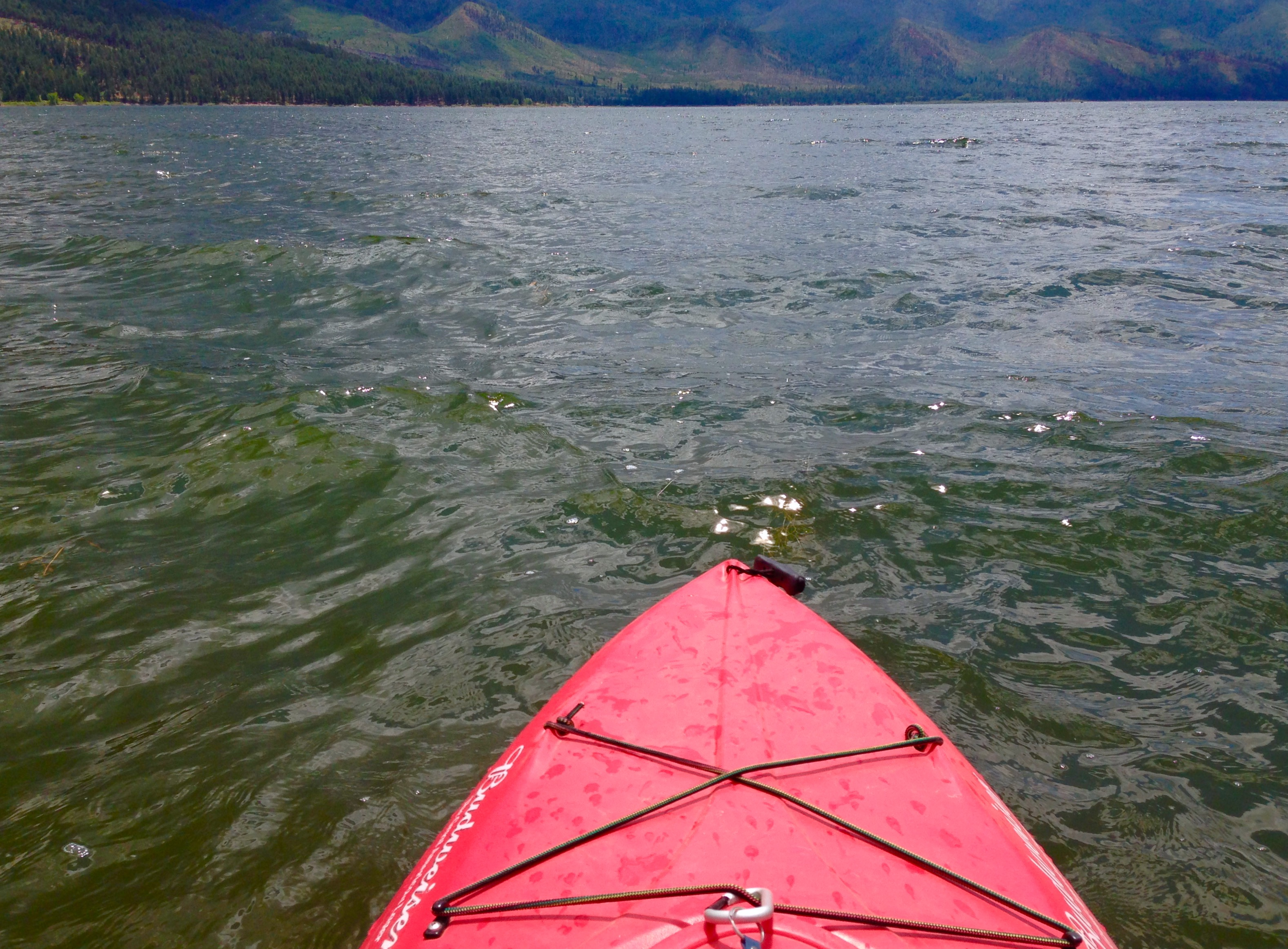 Kayaking Vallecito Reservoir. Photographer's point of view. Red kayak.
