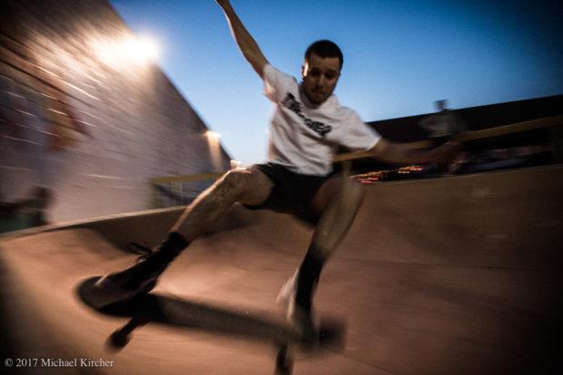 finding a line. skater in thrasher magazine t-shirt.