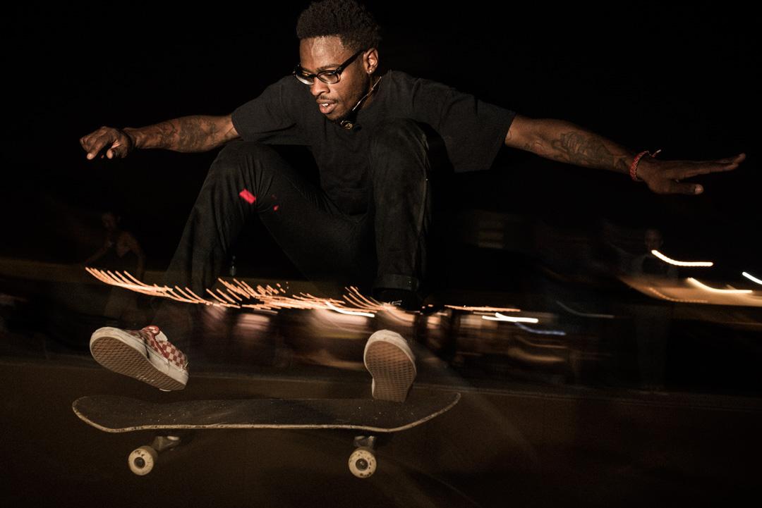 finding a line. daryl grier, skater designer for Tout Noir, flying!