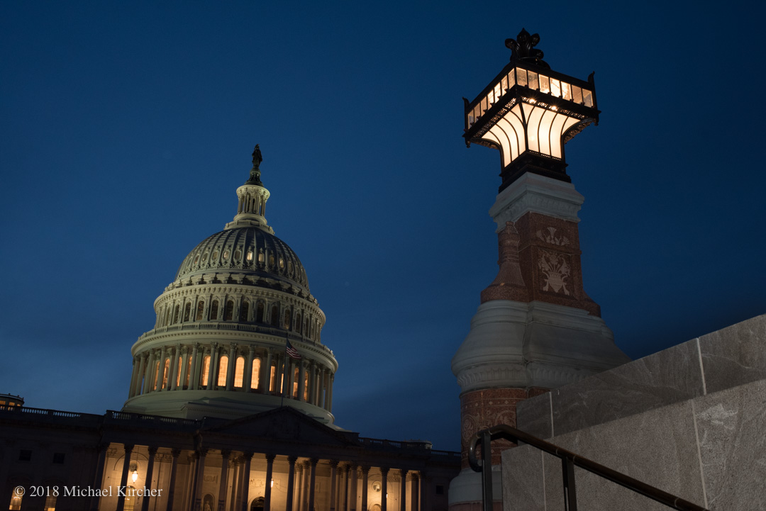 United States Capitol Building at dusk.