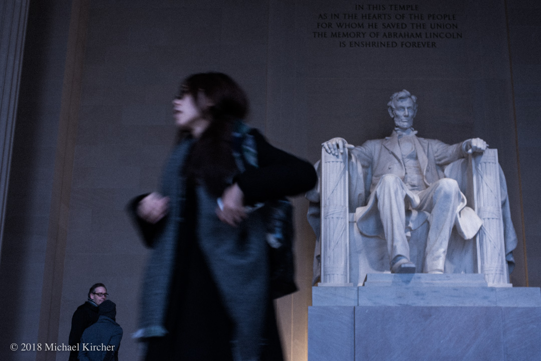 Tourists from all over come to see the statue of Abraham Lincoln on the National Mall in Washington DC.